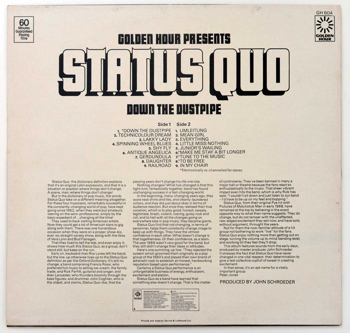 Photo Of The Back Cover STATUS QUO - Down The Dustpipe