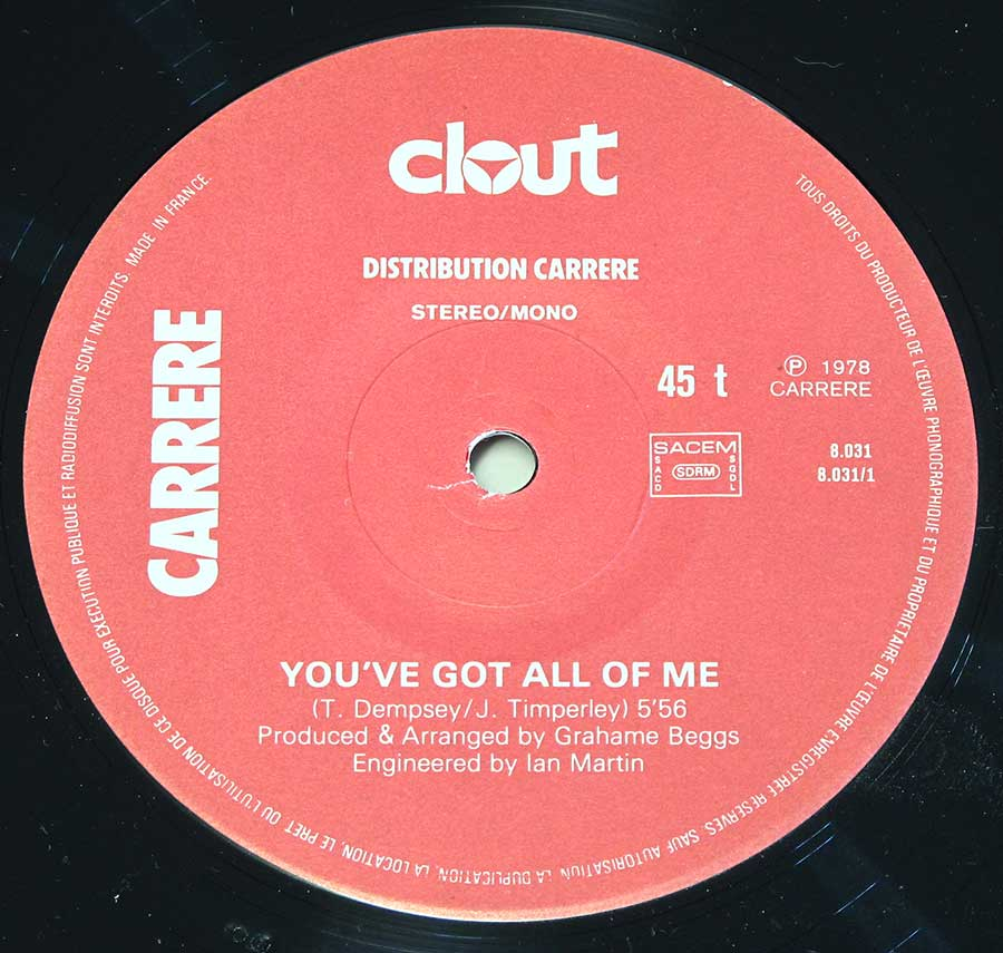 "Close up of ""You've Got All Of Me by Clout"" Red Colour Carrere Record Label Details: Carrere 8-031 ℗ 1978 CARRERE Sound Copyright"