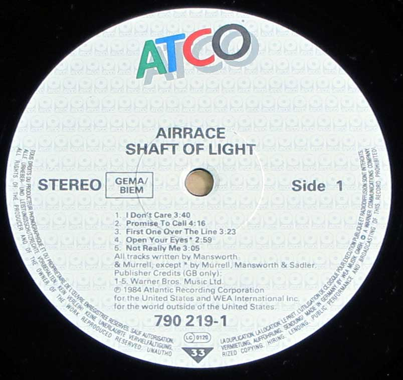 Enlarged High Resolution Photo of the Record's label AIRRACE - Shaft of Light https://vinyl-records.nl