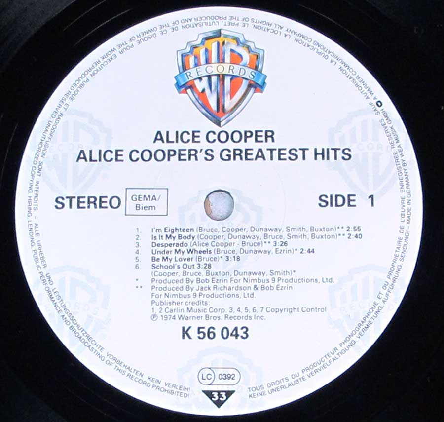 "Close up of record's label ALICE COOPER - Alice Cooper's Greatest Hits 12"" LP Vinyl Album Side One"