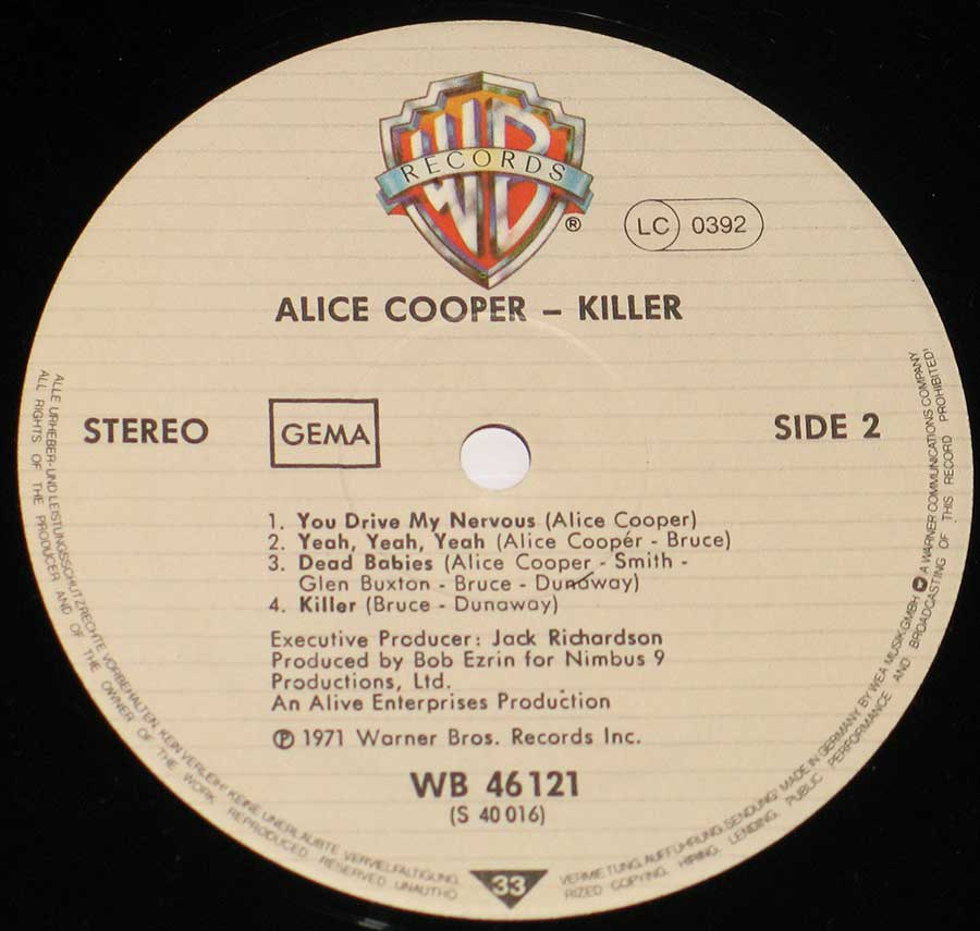 """Killer"" Record Label Details: Warner Bros Records WB 46 121 ℗ 1971 Warner Bros Records Sound Copyright"