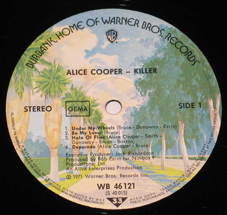"""Killer"" Palm trees Warner Bros Record Label Details: Warner Bros. Records WB 46121 ℗ 1971 Warner Bros. Inc Sound Copyright"