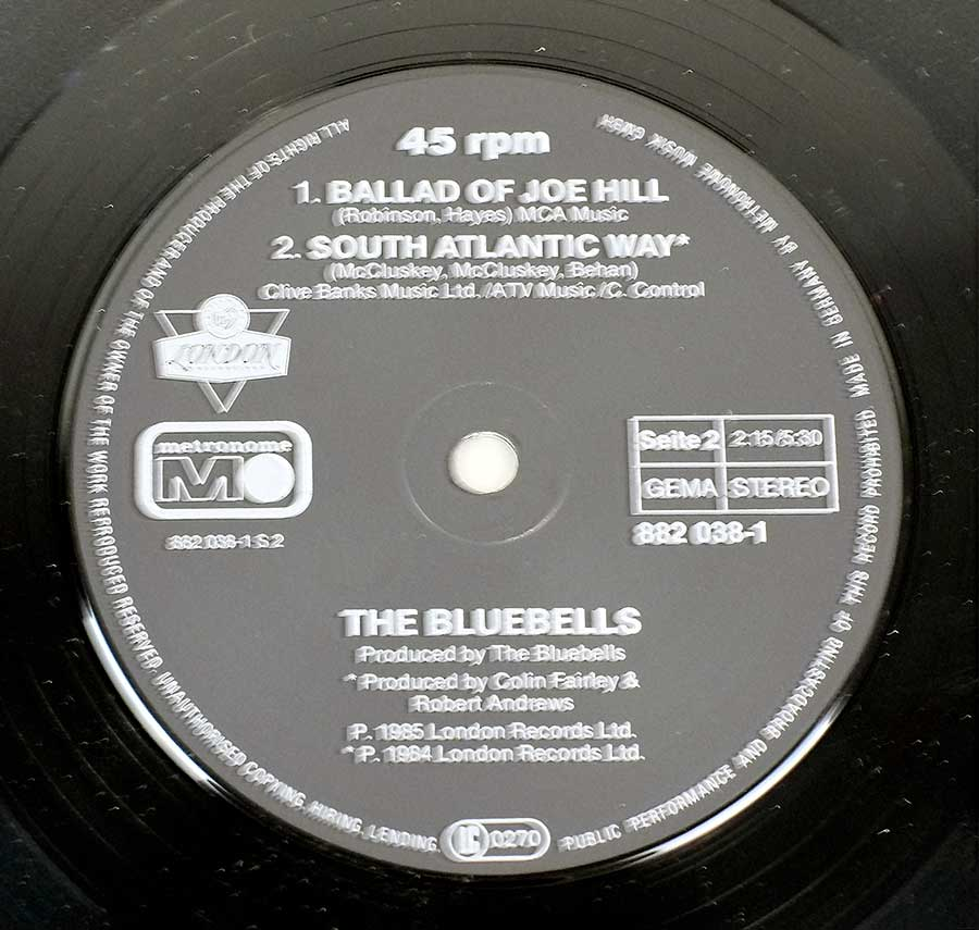Close up of record's label THE BLUEBELLS – All I Am  Side Two