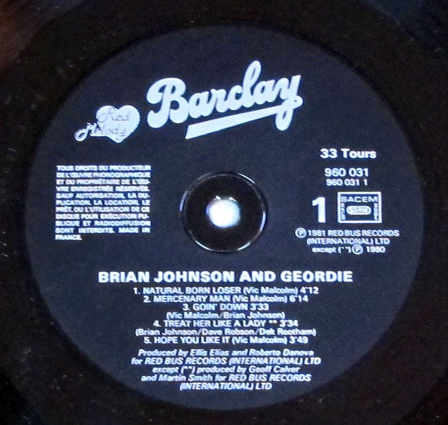 Black Colour BARCLAY Record Label Details: 960 031