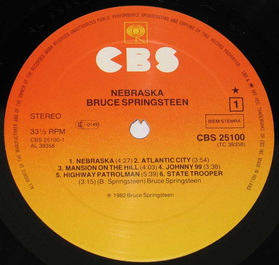 Close up of record's label BRUCE SPRINGSTEEN - Nebraska Side One