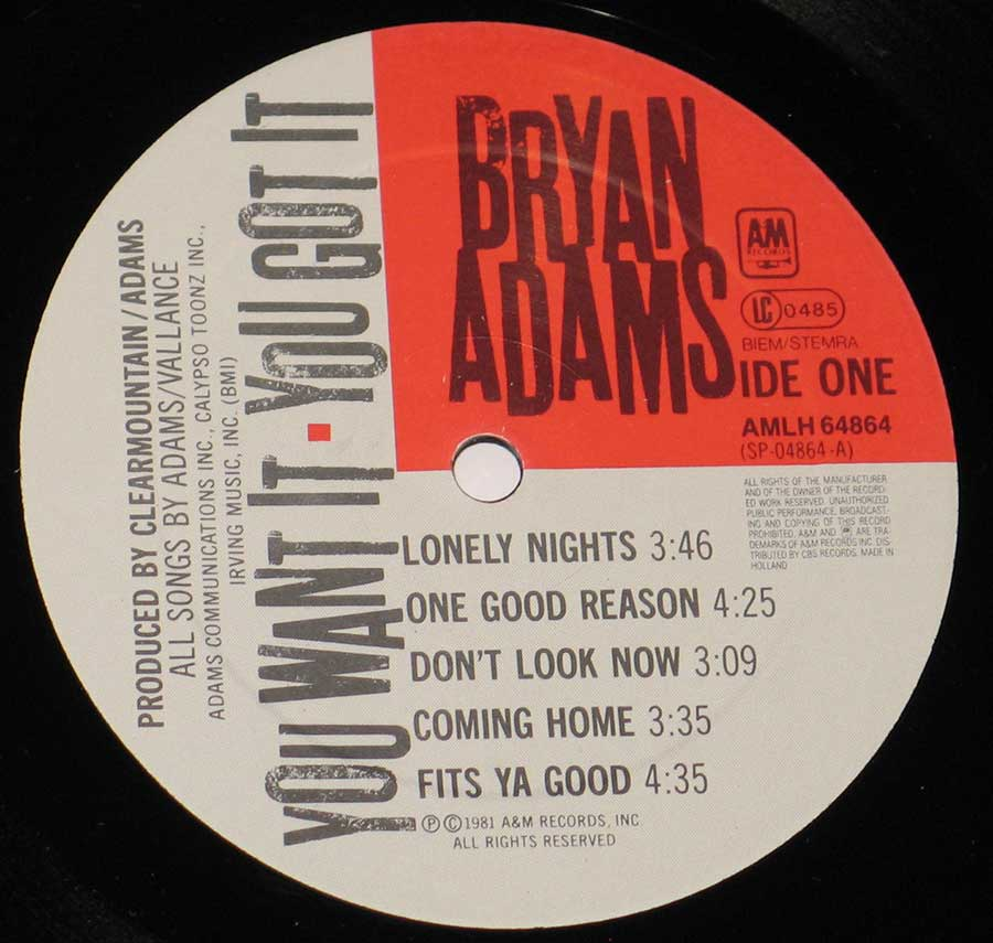 """You Want It You Got It "" Record Label Details: A&M Records AMLH 64864"
