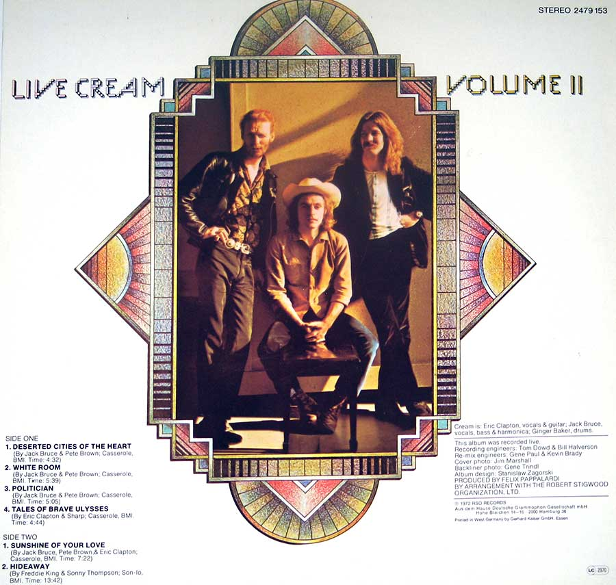 "CREAM - Live Cream Volume II With Eric Clapton RSO 12"" Vinyl LP Album   back cover"