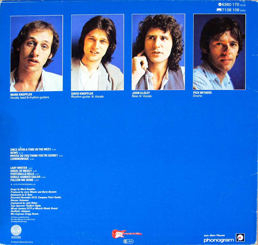 Four individual portrait photos of the Dire Straits band-members on the album back cover
