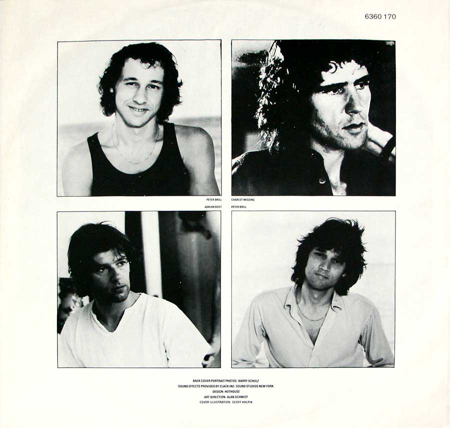 "Four individual photos in black and white of the ""Dire Straits"" band-members"