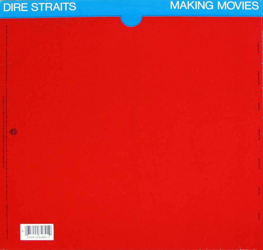 "Album Back Cover  Photo of ""DIRE STRAITS - Making Movies Orig USA"""