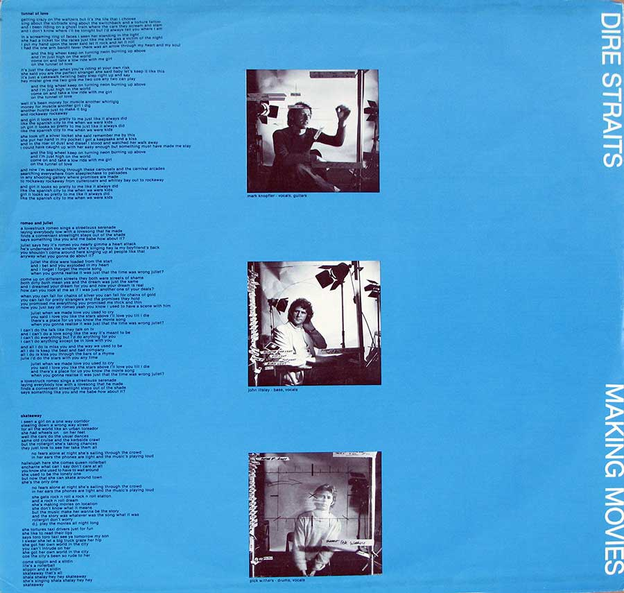 "Inner Sleeve   of ""DIRE STRAITS - Making Movies Orig USA"" Album"