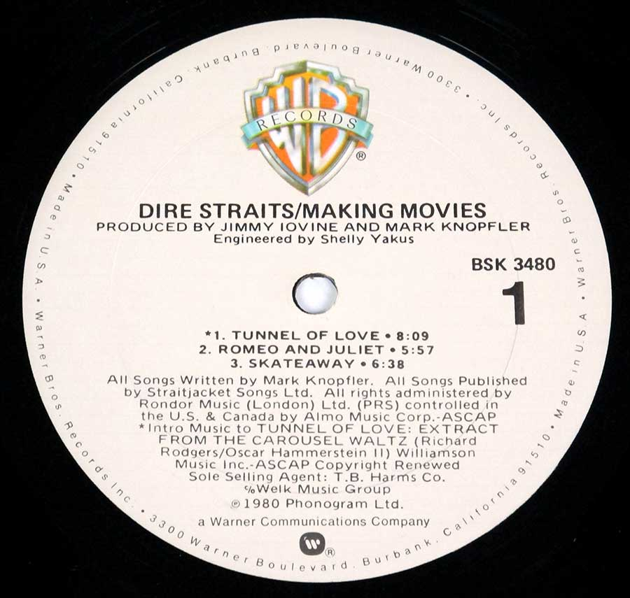 "Close-up Photo of ""DIRE STRAITS - Making Movies Orig USA"" Record Label"