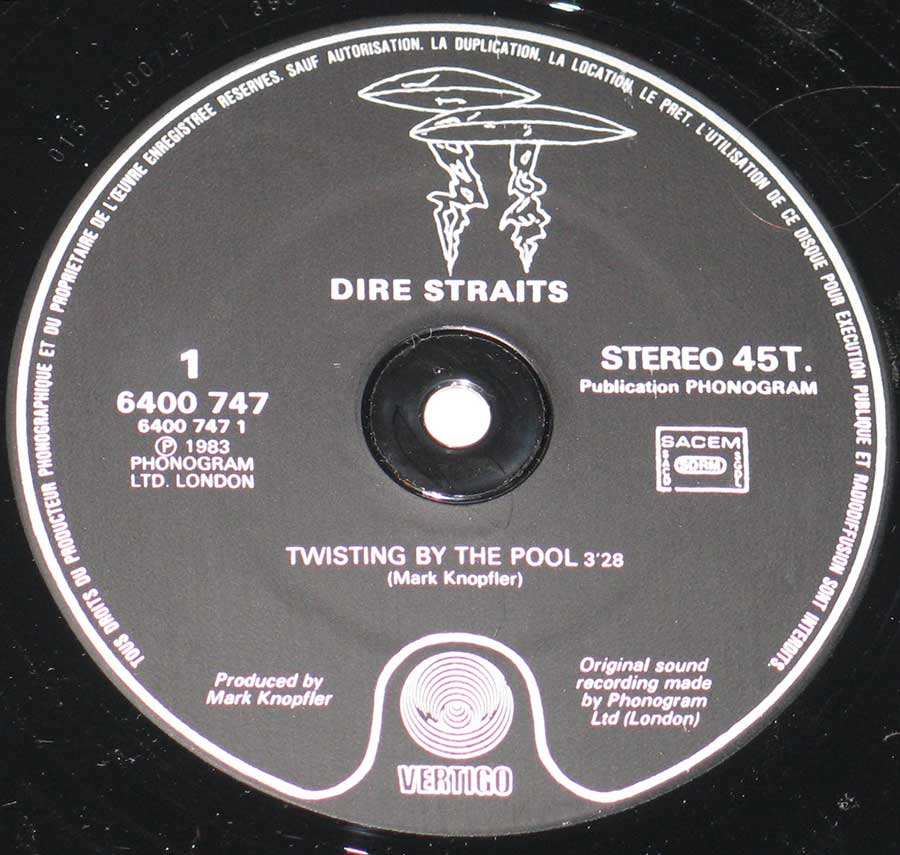 """Twisting by the Pool"" Record Label Details: Black colour with two UFO's logo VERTIGO 6400 747"