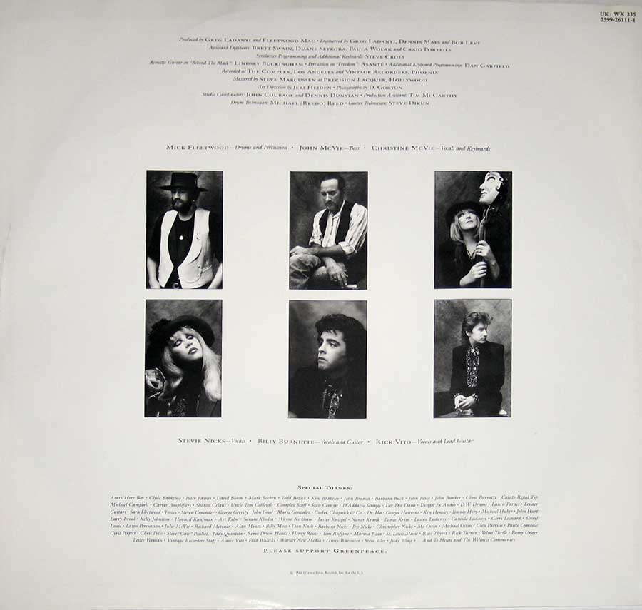 Photo One Of The Original Custom Inner Sleeve FLEETWOOD MAC - Behind The Mask