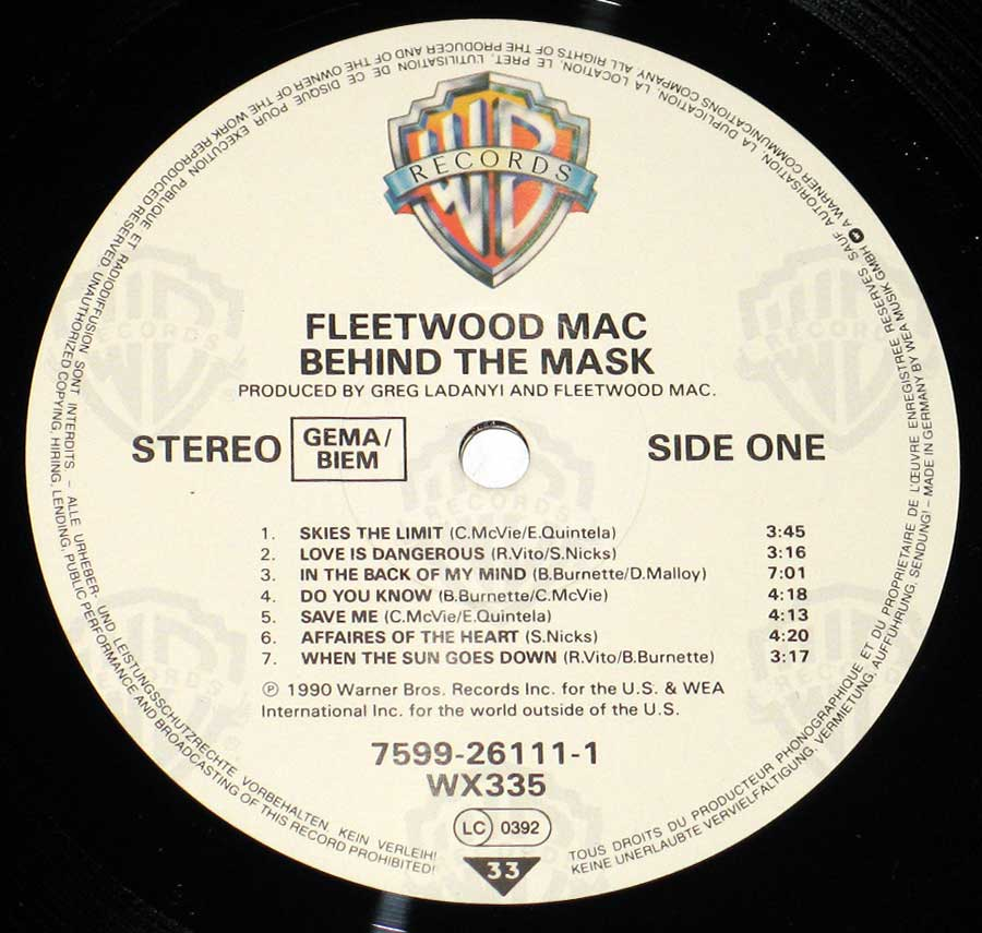 Close up of record's label FLEETWOOD MAC - Behind The Mask Side One