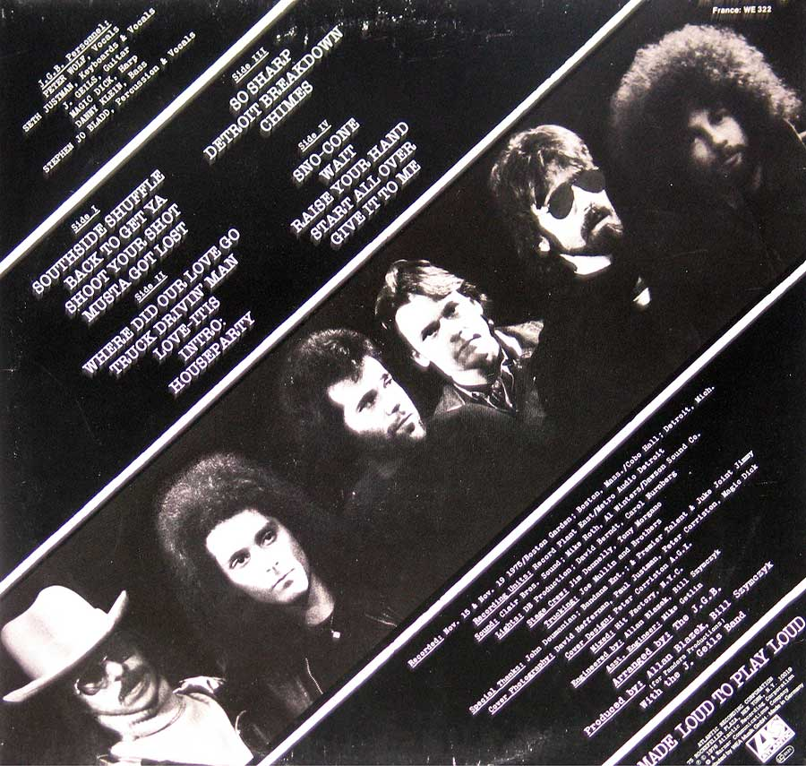 Photo One Of The Original Custom Inner Sleeve J. Geils Band - Blow Your Face Out, Live