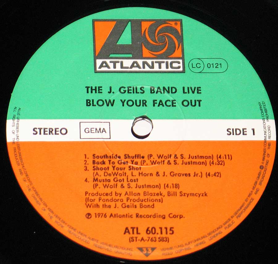 Close up of record's label J. Geils Band - Blow Your Face Out, Live Side One