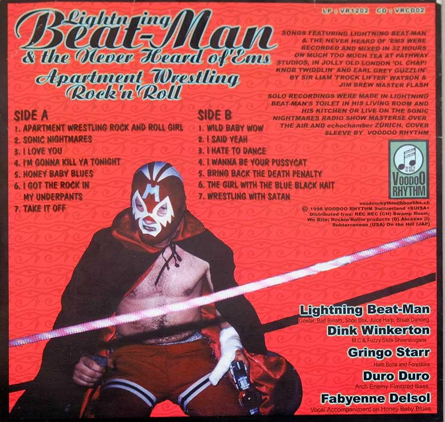 "Photo of album back cover LIGHTNING BEAT-MAN And The Never Heard Of Ems Apartment Wrestling Rock N Roll 12"" LP Vinyl Album"