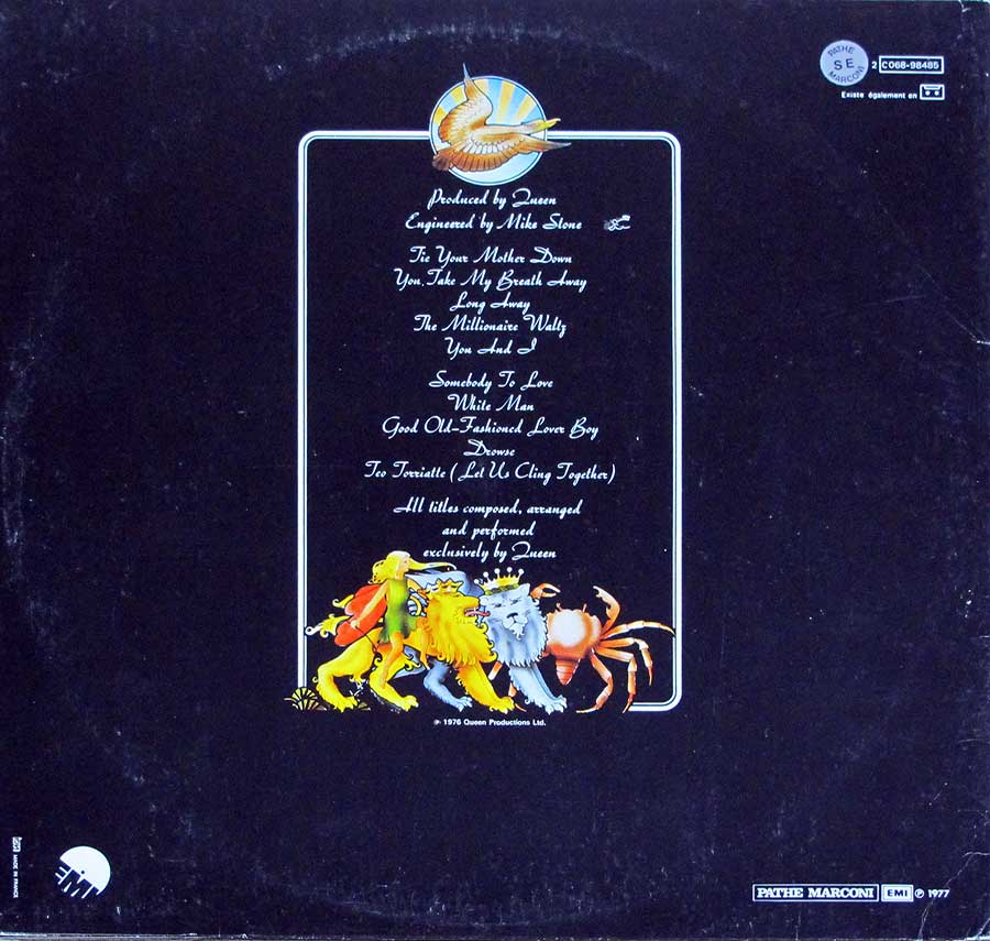 "QUEEN - Day At The Races French Release Gatefold 12"" LP Vinyl Album back cover"