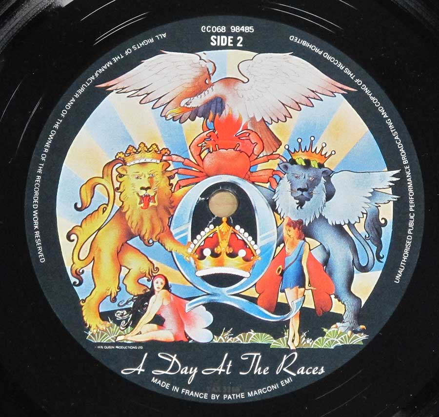 """Day At The Races"" Record Label Details: EMI 2C 068 98485 ℗ 1976 Queens Productions Ltd Sound Copyright"
