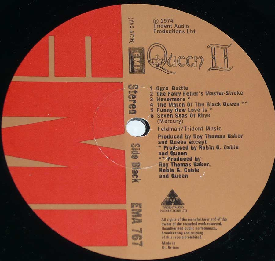 """Queen II"" Red and Brown Colour EMI Record Label Details: EMI EMA 767 ℗ 197 Trident Audio Productions Sound Copyright"