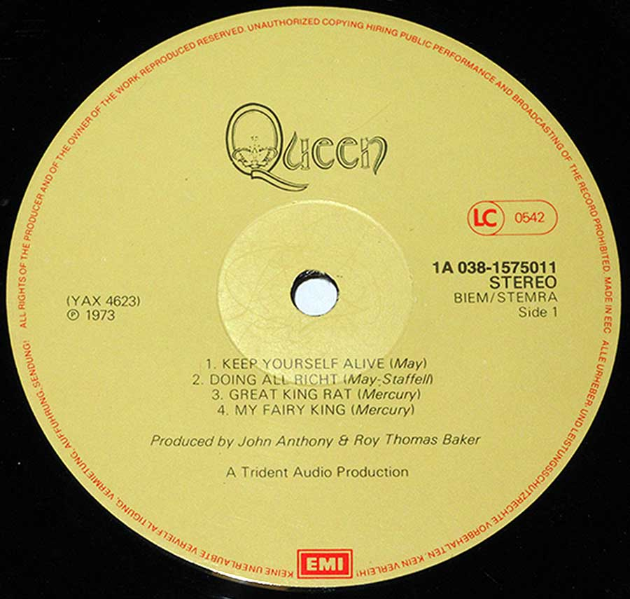 """QUEEN"" Record Label Details: 1A 038-1575011 ℗ 1973 Sound Copyright"