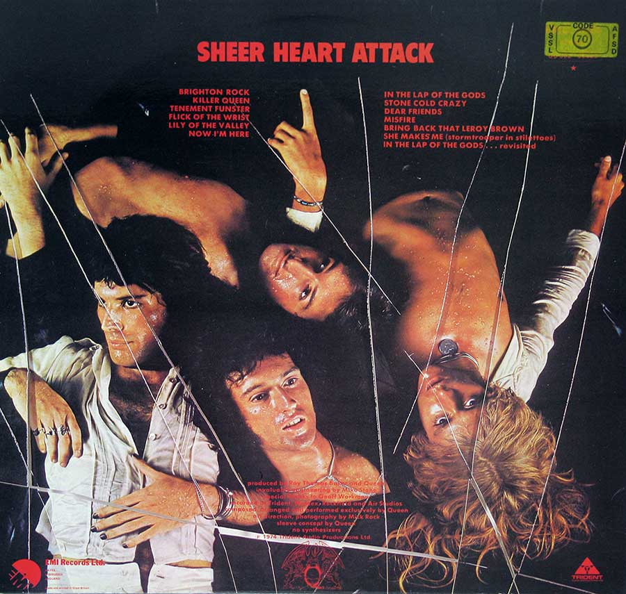 "QUEEN - Sheer Heart Attack Gt Britain Pressing 12"" Vinyl LP Album  back cover"