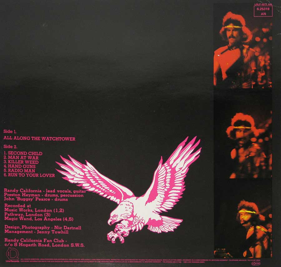 Photo of album back cover Randy California - All Along the Watchtower