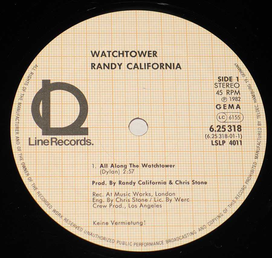 Close up of record's label Randy California - All Along the Watchtower Side One