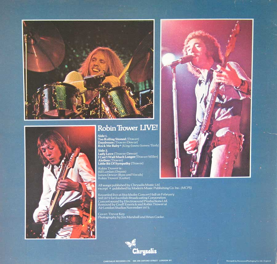 "Photo of album back cover ROBIN TROWER - Live! 12"" Vinyl LP Album"