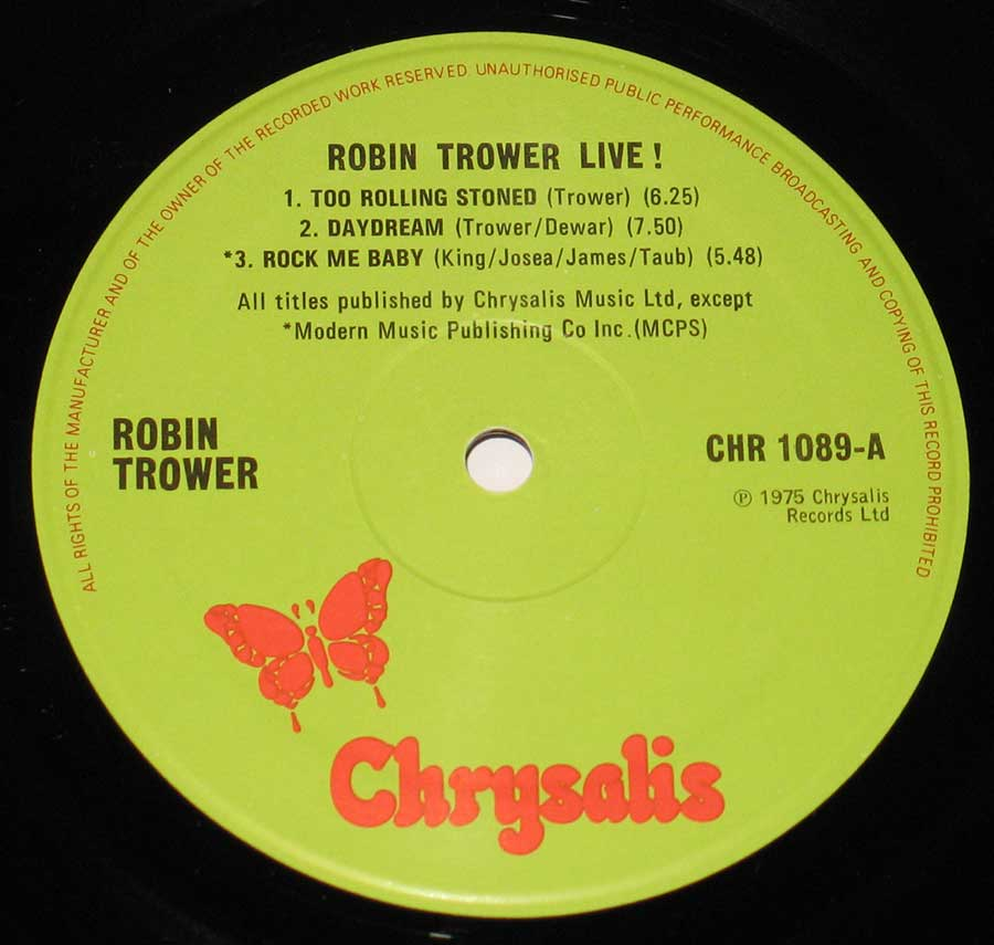 "Close up of record's label ROBIN TROWER - Live! 12"" Vinyl LP Album  Side One"