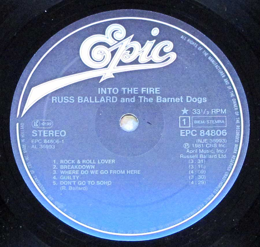 """Dogs Into The Fire"" Record Label Details: April Music Inc. EPIC EPC 84806"