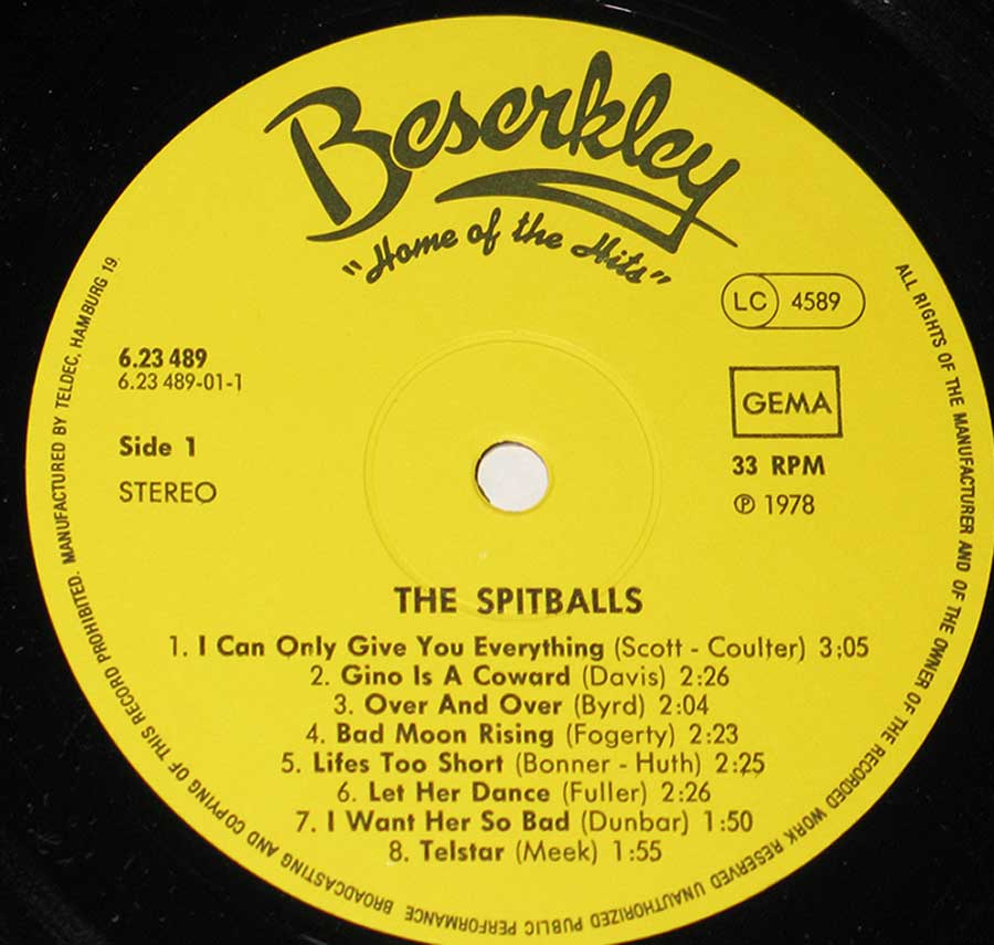 """The Spitballs"" Yellow Colour Beserkley Record Label Details: Beserkley (Home of the Hits) 6.23 489 . LC 4589 ℗ 1978 Sound Copyright"