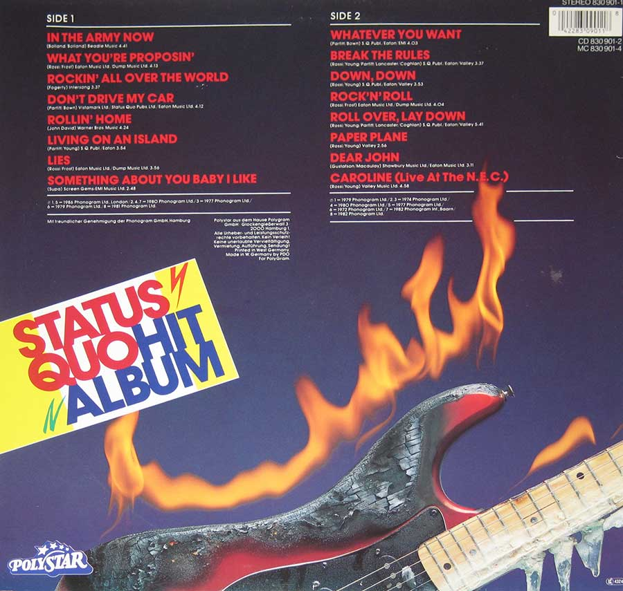 "STATUS QUO - Hit Album 12"" VINYL LP ALBUM album back cover"
