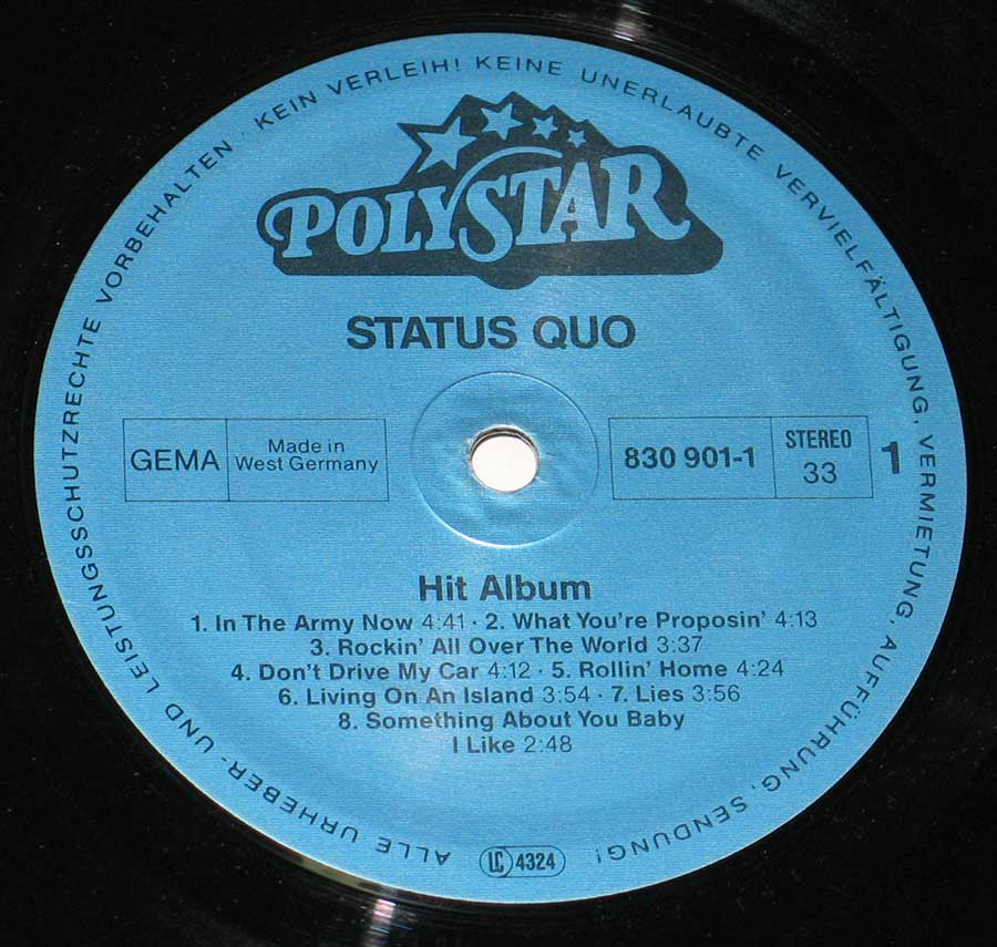 "STATUS QUO - Hit Album 12"" VINYL LP ALBUM enlarged record label"
