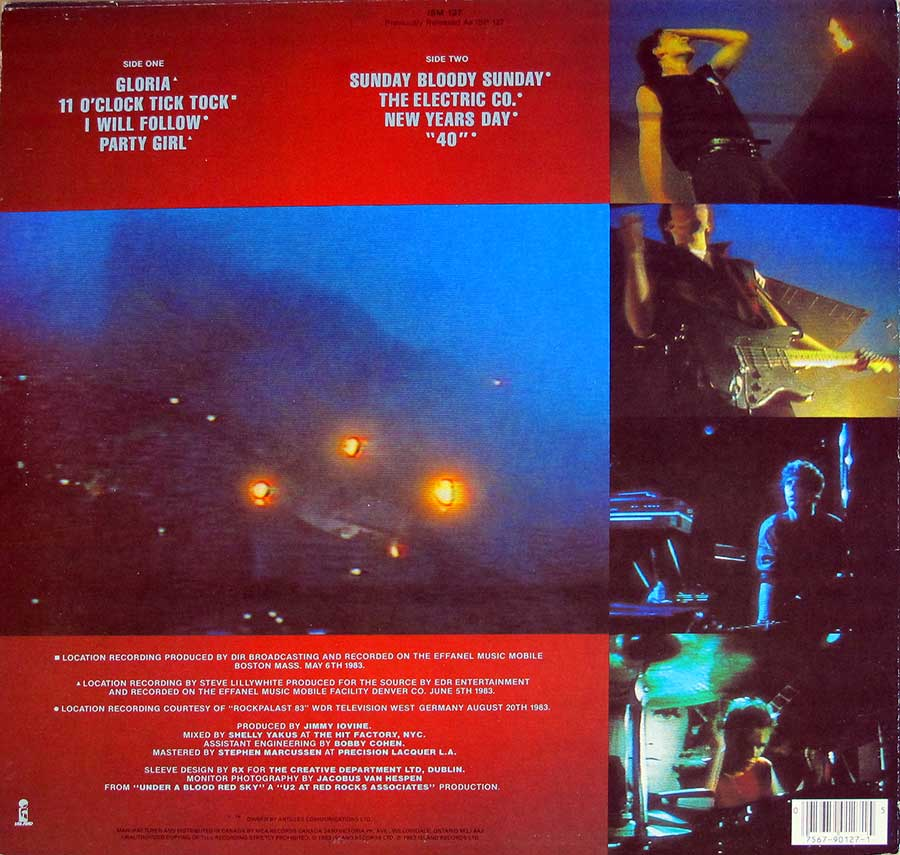 Photo of album back cover U2 - Live Under a Blood Red Sky ( Canada )