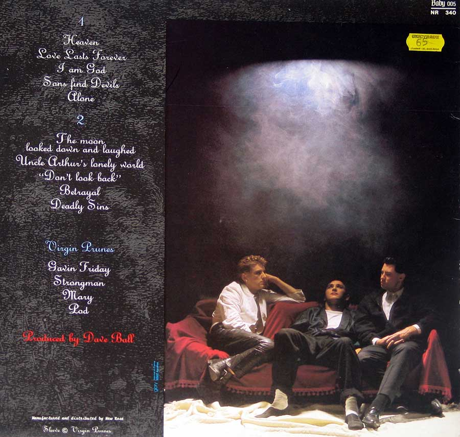 "Photo of album back cover VIRGIN PRUNES - The Moon Looked Down And Laughed 12"" Vinyl LP Album"