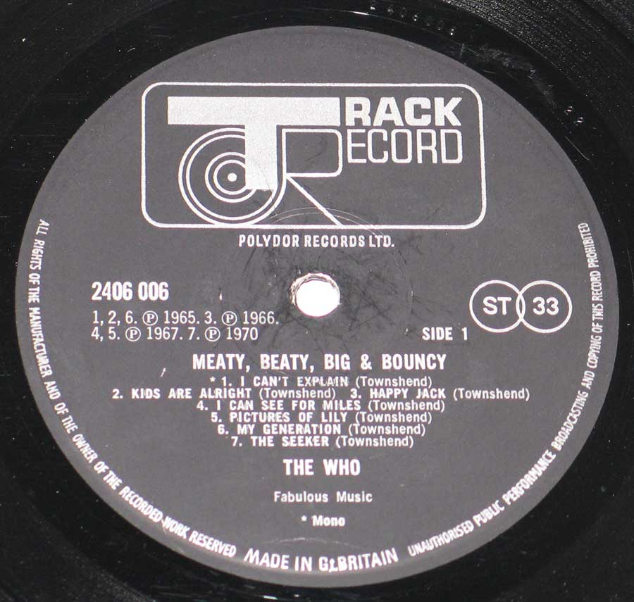 Close up of record's label THE WHO - Meaty Beaty Big & Bouncy  Side One