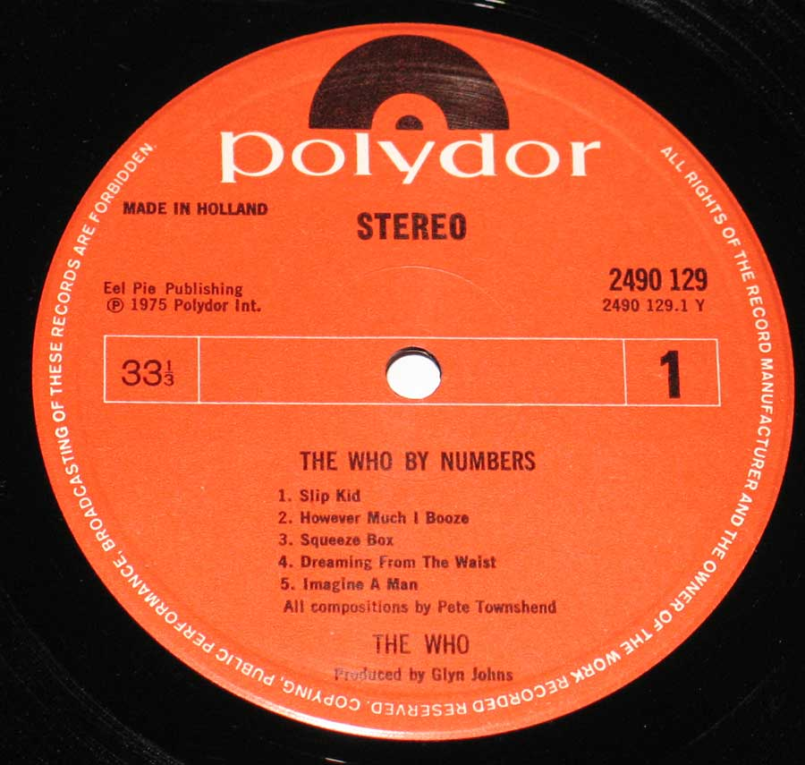 Close up of the The Who - By Numbers record's label