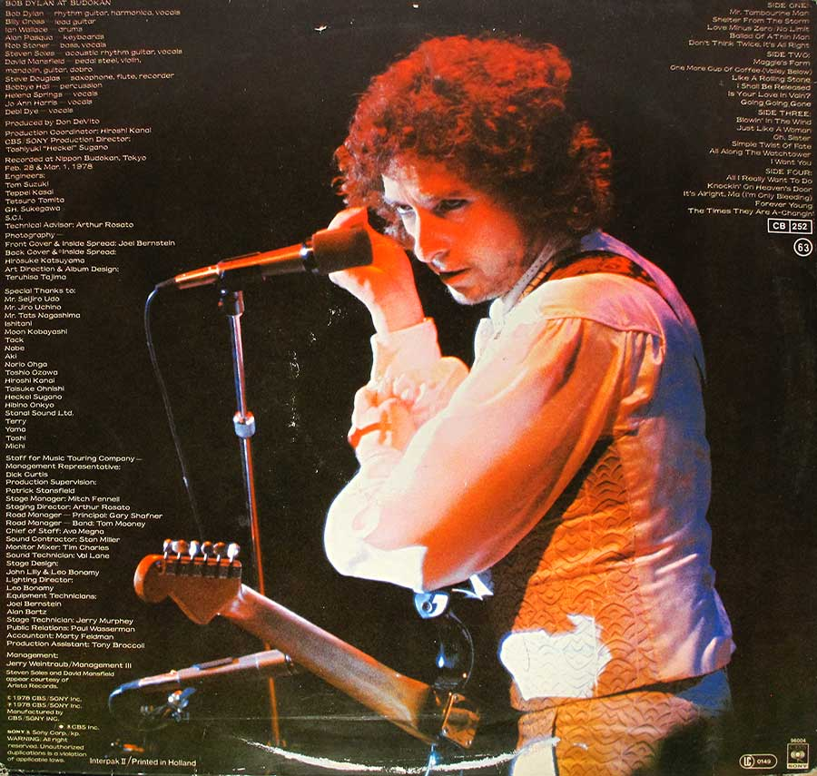 "Photo of album back cover BOB DYLAN At Budokan Live 2LP 12"" Vinyl LP Album"