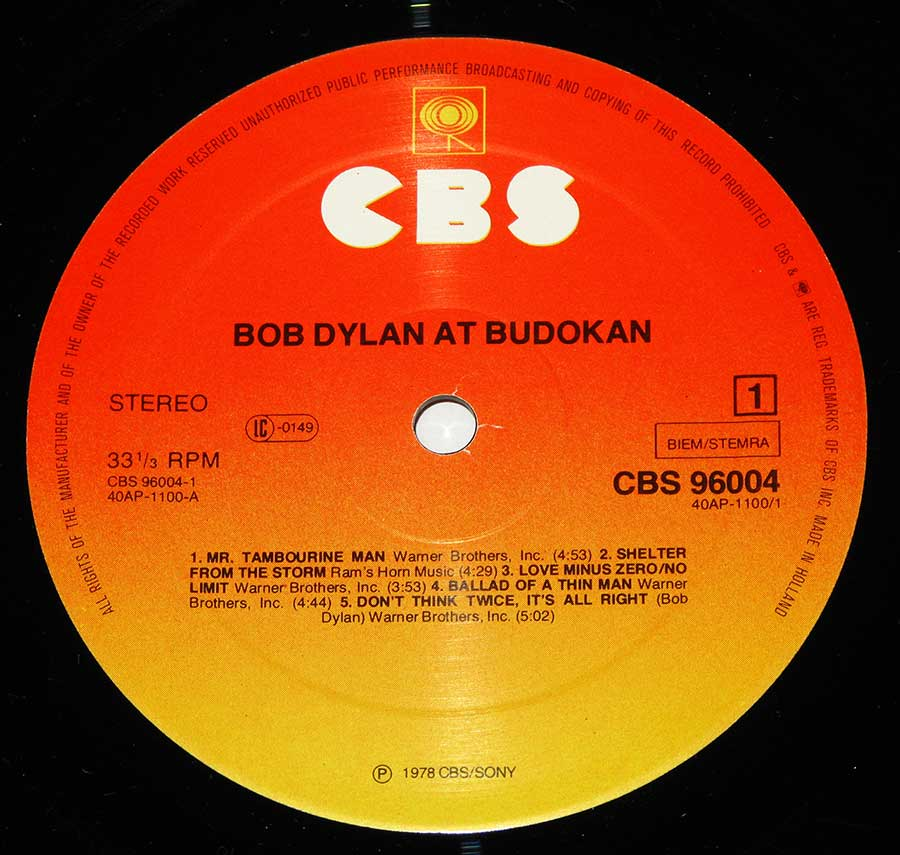 "Close up of record's label BOB DYLAN At Budokan Live 2LP 12"" Vinyl LP Album Side One"