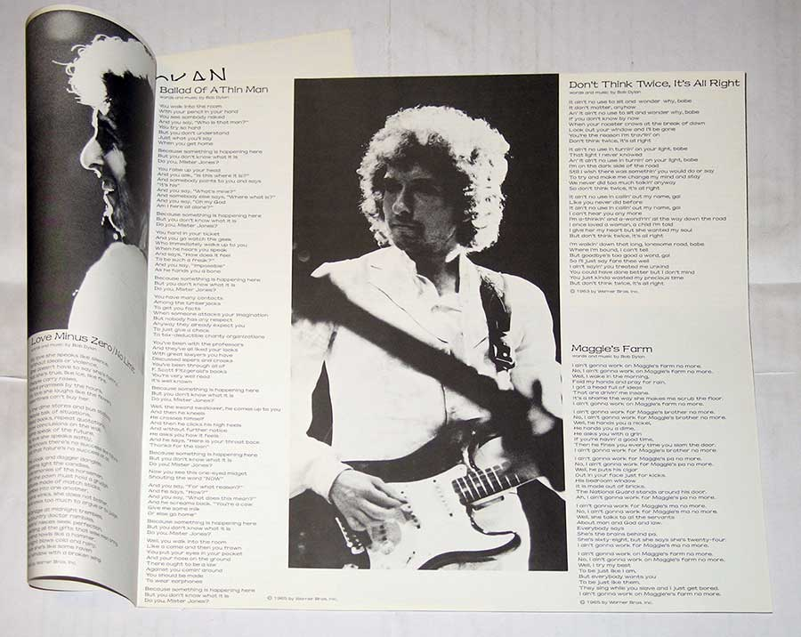 "Photo One Of The Original Custom Inner Sleeve BOB DYLAN At Budokan Live 2LP 12"" Vinyl LP Album"