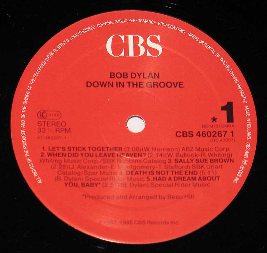 """Down In The Groove"" Record Label Details: Red Colour CBS 460267 1"