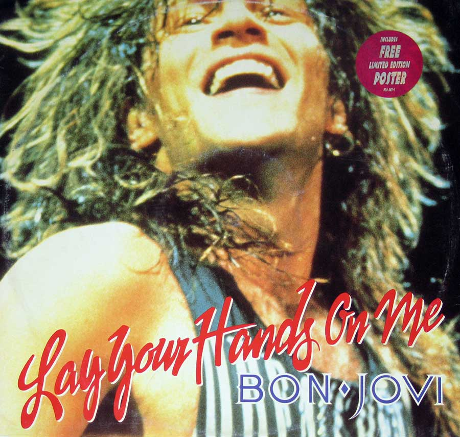 "BON JOVI  Lay Your Hands On Me ( including Poster ) 12"" Vinyl EP Album  album front cover"