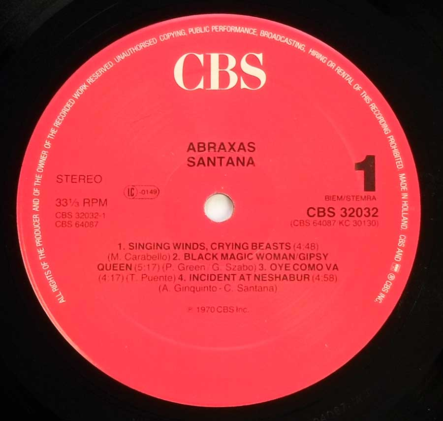 """Abraxas"" Red Colour CBS Record Label Details: CBS 32032"