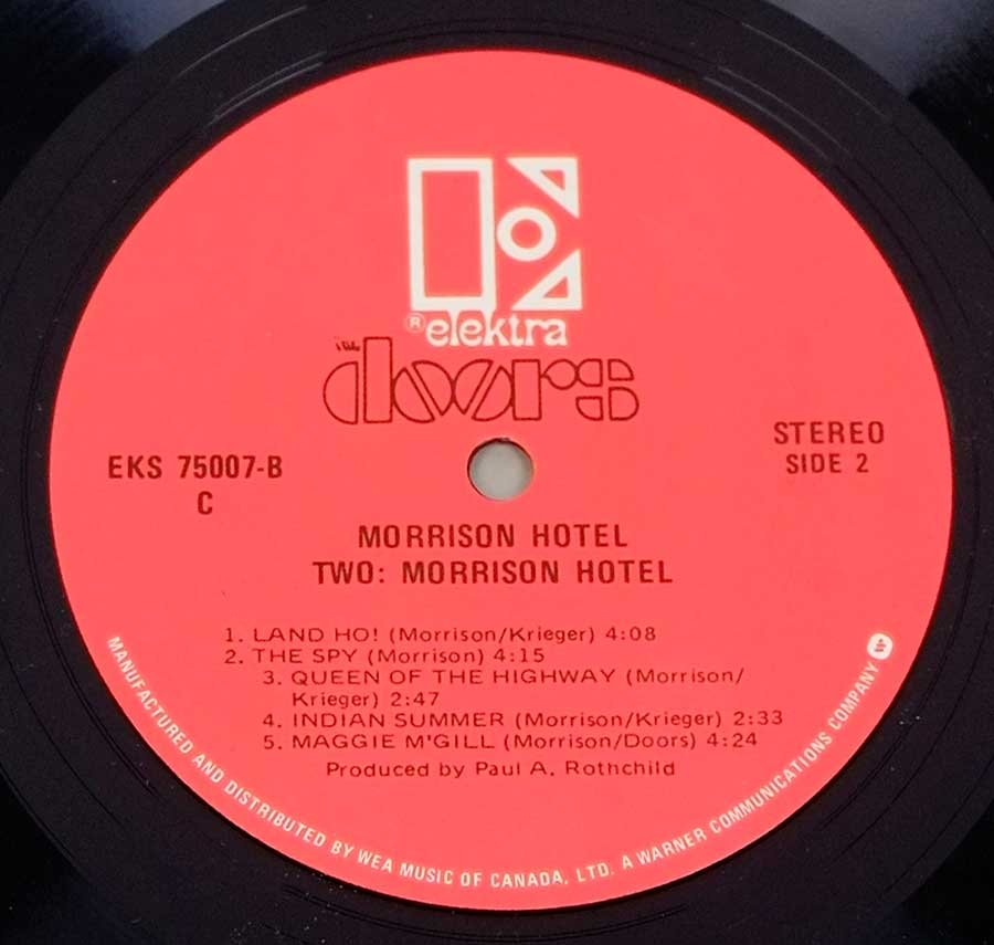 "Close up of record's label DOORS MORRISON - Hotel Red Label Canada 12"" LP Vinyl Side Two"