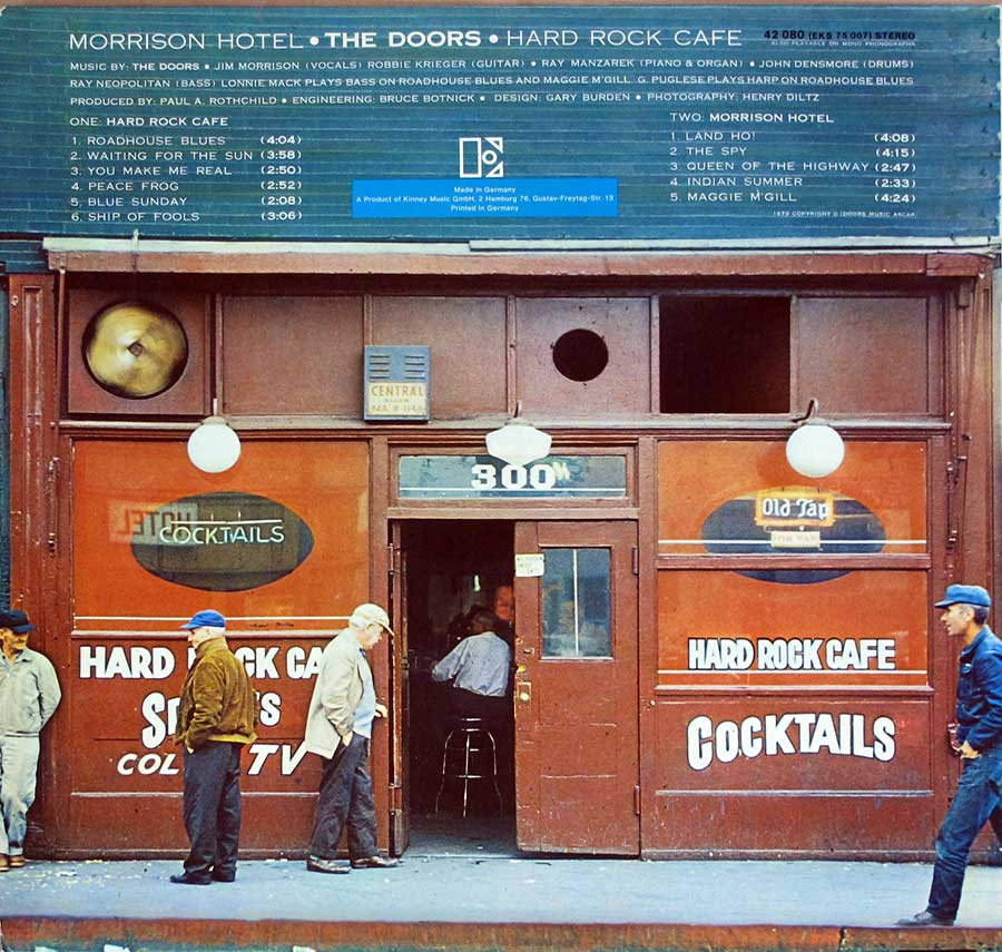 Photo of album back cover THE DOORS - Morrison Hotel ( German Release )