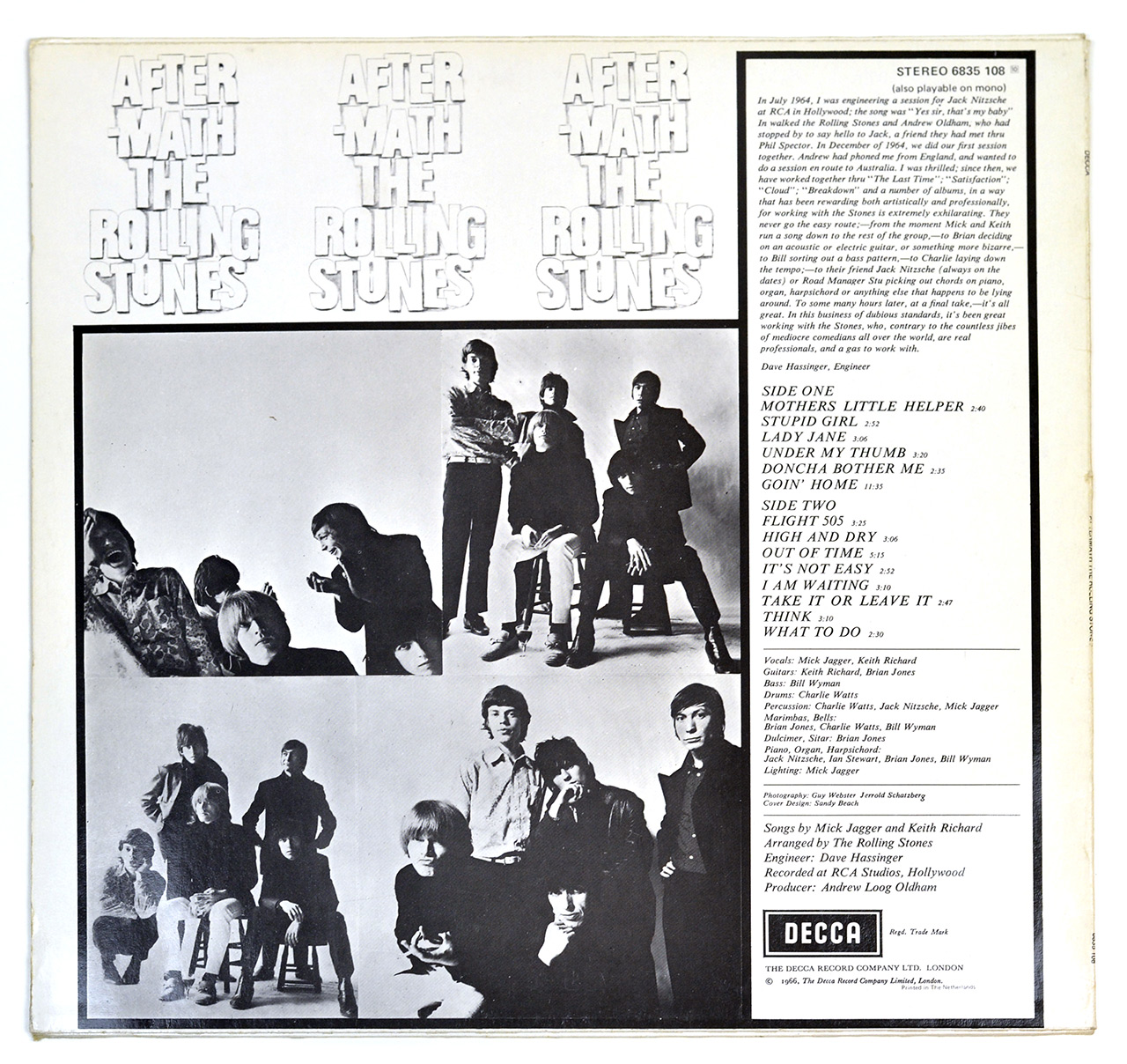 Photo of album back cover ROLLING STONES - Aftermath DECCA NETHERLANDS