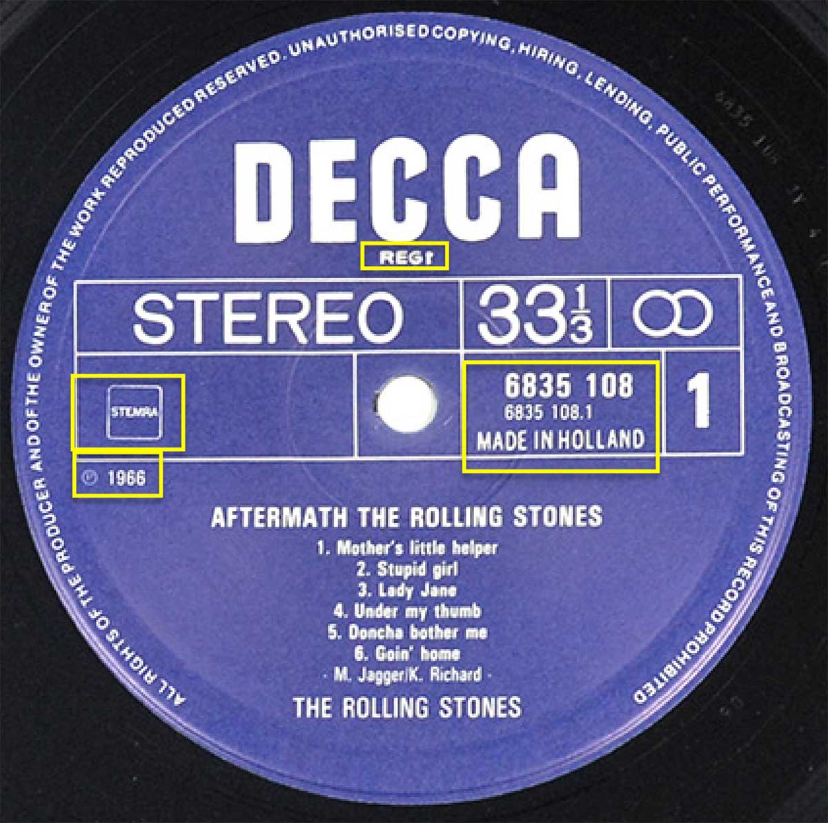 Photo of record label of ROLLING STONES - Aftermath DECCA NETHERLANDS