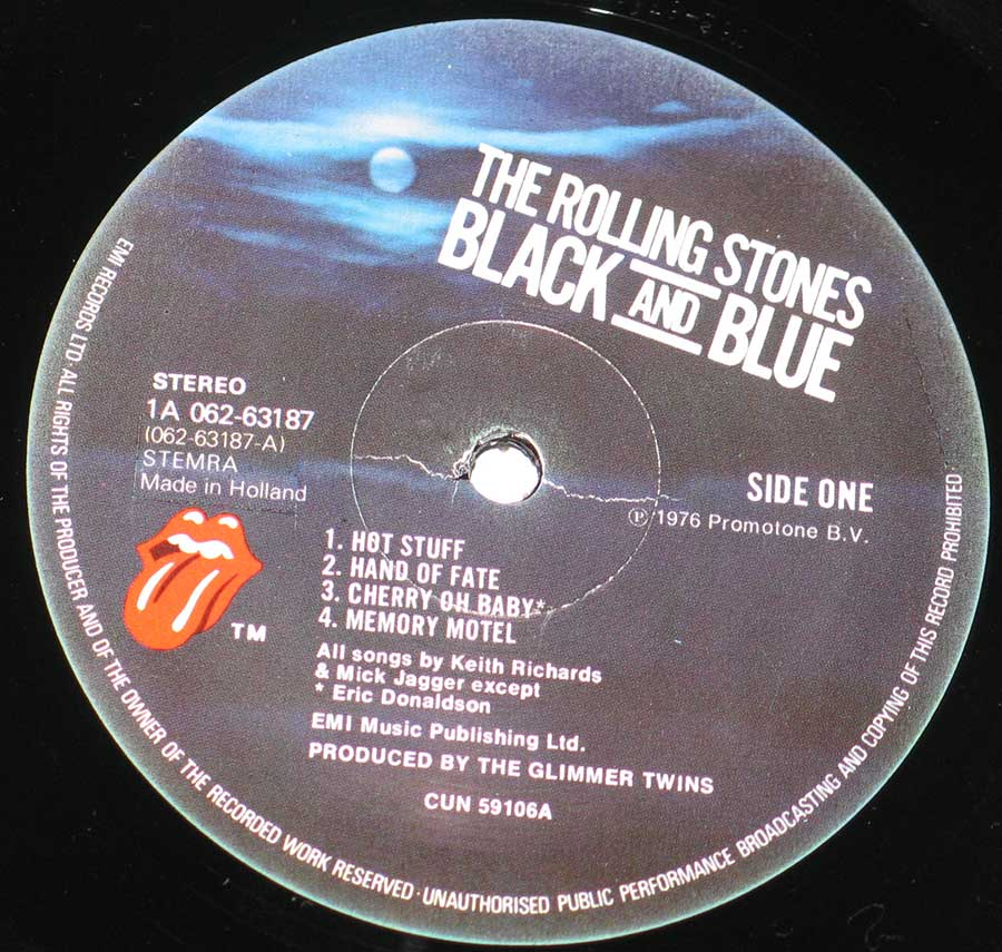 Close up of record's label THE ROLLING STONES - Black and Blue Side One